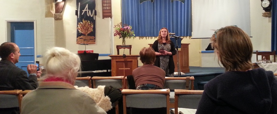 Reli Maier (ACV Romania) speaking at Ashton-under-Hill Free church.